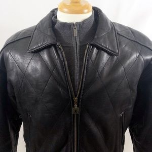 Express Quilted Leather Jacket w/Padded Shoulders!